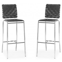 Criss Cross Black Bar Chair Set of 2