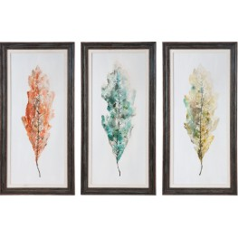 Tricolor Leaves Abstract Art Set of 6