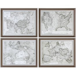 World Maps Framed Gray Print Set of 4