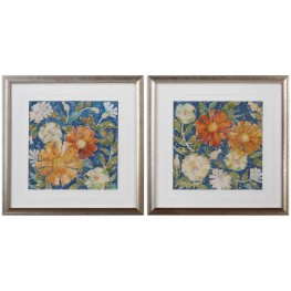 April White and Blue Flowers Prints Set of 2