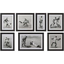 Vintage Football Techniques Gray Print Wall Art Set of 7