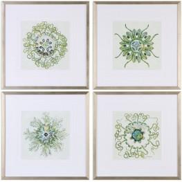 Organic Symbols White Print Wall Art Set of 4