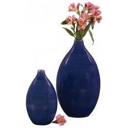 Cobalt Blue Glaze Ceramic Vases Set of 2