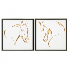 Golden Horses Framed Art Set of 2
