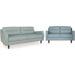 Isabel Bluette Leather Living Room Set