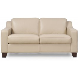 Cora Putty Top Grain Leather Loveseat