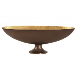 Bronze Footed Medium Bowl with Oblong Gold Luster