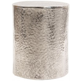Textured Antique Silver Aluminum Side Table