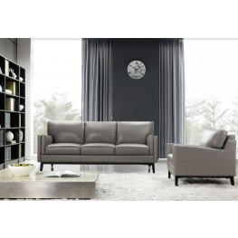 Osman Dark Grey Top Grain Leather Living Room Set