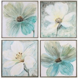 Florals Cream And Teal Framed Wall Art Set of 4