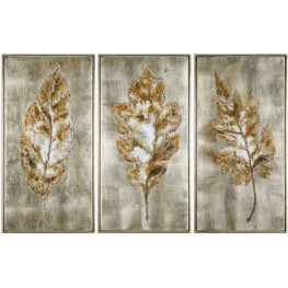 Champagne Leaves Modern Wall Art Set of 3