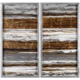 Metallic Brown Layers Modern Wall Art Set of 2