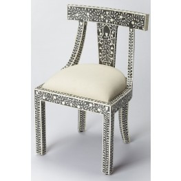 Bone Inlay Black Accent Chair