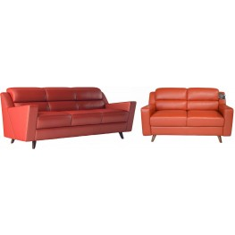 Lucia Brick Red Leather Living Room Set