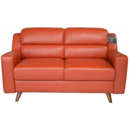 Lucia Brick Red Leather Loveseat