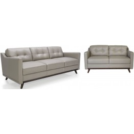 Monika Medium Grey Top Grain Leather Living Room Set