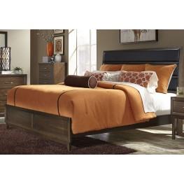 Hudson Square Espresso King Upholstered Platform Bed
