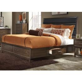 Hudson Square Espresso King Upholstered Platform Storage Bed