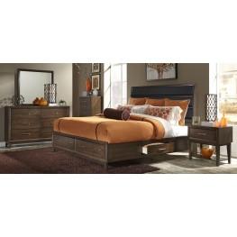 Hudson Square Espresso Upholstered Storage Platform Bedroom Set