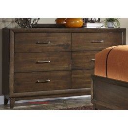 Hudson Square Espresso 6 Drawer Dresser