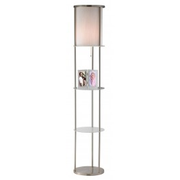 Holden Satin Steel Shelf Floor Lamp