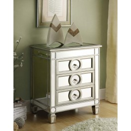 3701 Brushed Silver / Mirrored 3 Drawer Accent Table