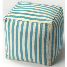 Sanibel Blue Stripe Pouffe