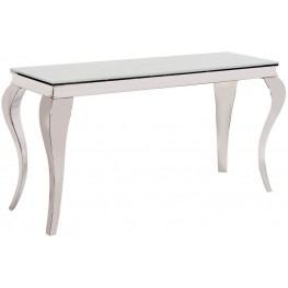 Stainless Steel Console Table with Thick Tempered Glass Top