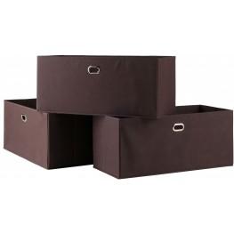 Torino Chocolate Fabric Folding Baskets Set of 3