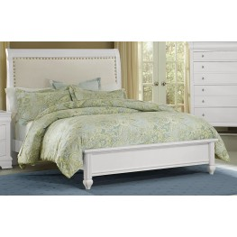 French Market Soft White Queen Upholstered Panel Bed