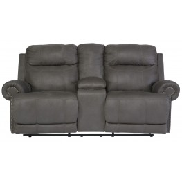 Austere Gray Double Reclining Loveseat with Console
