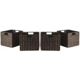 Granville Chocolate Foldable Small Corn Husk Baskets Set of 4
