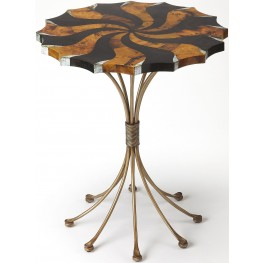 Metalworks Pinwheel Pen Shell Accent Table