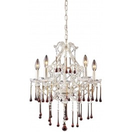 Opulence Antique White And Amber Crystal 5 Light Chandelier