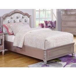 Caroline Metallic Lilac Twin Platform Bed