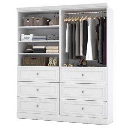 Versatile White 72'' Storage Wardrobe