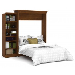 Versatile Tuscany Brown 92'' One Sided Storage Queen Wall Bed