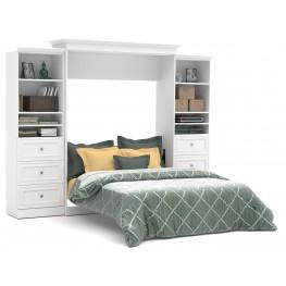 Versatile White 115'' Drawer Storage Queen Wall Bed