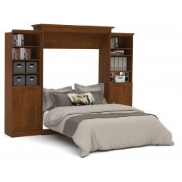 Versatile Tuscany Brown 115'' Door Storage Queen Wall Bed