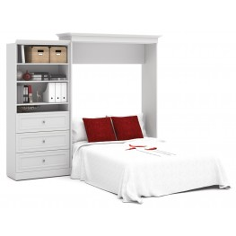 Versatile White 101'' Queen Wall Bed