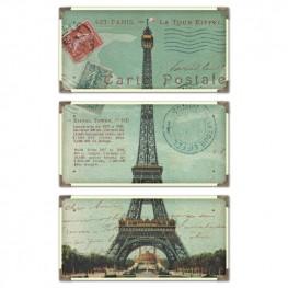 Eiffel Tower Carte Postale Art Set of 3