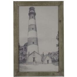 Lighthouse Grey Driftwood Framed Print Wall Art