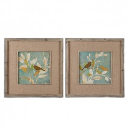 Turqouise Bird Silhouettes Framed Art Set of 2