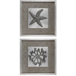 Starfish & Coral Shadow Box Art Set of 2