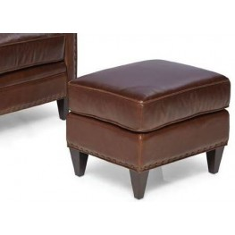 Logan Trends Walnut Leather Ottoman