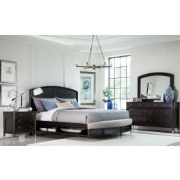 Vibe Merlot Radius Bench Panel Storage Bedroom Set