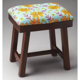 Claudia Multicolor Daisy Print Upholstered Stool