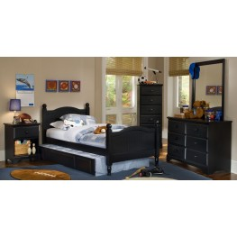 Midnight Black Youth Cottage Panel Bedroom Set