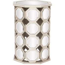 Mirrored Hexagon Wood Tall Table