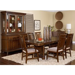 Estes Park Artisan Oak Rectangular Trestle Extendable Dining Room Set